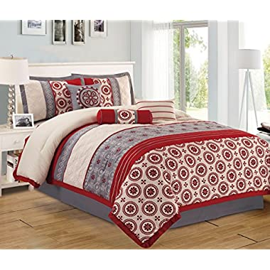 Retro 7 Piece Bedding Burgundy Red / Grey / Ivory Stripe Embroidered QUEEN Comforter Set with accent pillows