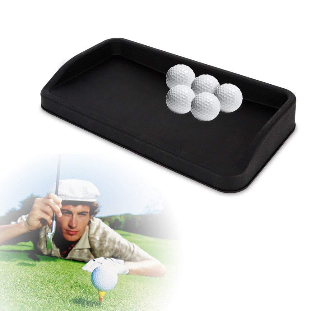 QIZHI Rubber Golf Ball Tray Large (Can Hold 100 Golf Balls) Best Gift Designed for The The Country Club Elite Golf Mat