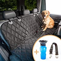 "Dog Seat Covers for Cars, SUVs and Trucks. Hammock or Bench with Side Flaps. Nonslip Backing, Quilted, Padded, Water, Scratch and Stain Proof. Black 54""X58"" Bonus: Seat Belt/Travel Water Bottle."