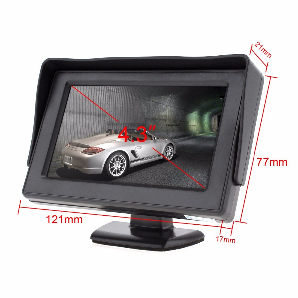 B-Qtech 4.3 Inch Car Monitor TFT LED Color Display Screen for Rear View Backup Camera 43235-36645