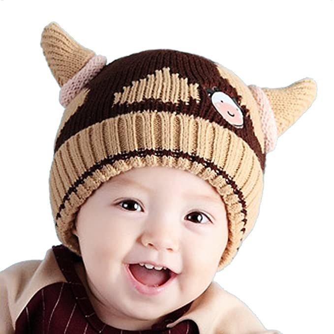 edf921c7242 Image Unavailable. Image not available for. Color  Baby Girls Boys Winter  Hat Scarf Earflap Hood Scarves Viking Horns ...