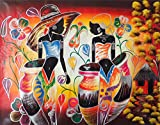 The Avant-Garde Art Group - Home Decor Wall Canvas Painting Hand Painted On Canvas 48''W x 39''H Africa Native African Caribbean Island Hut Women With Flower Pots & Vases (Unframed) Canvas Wall Art