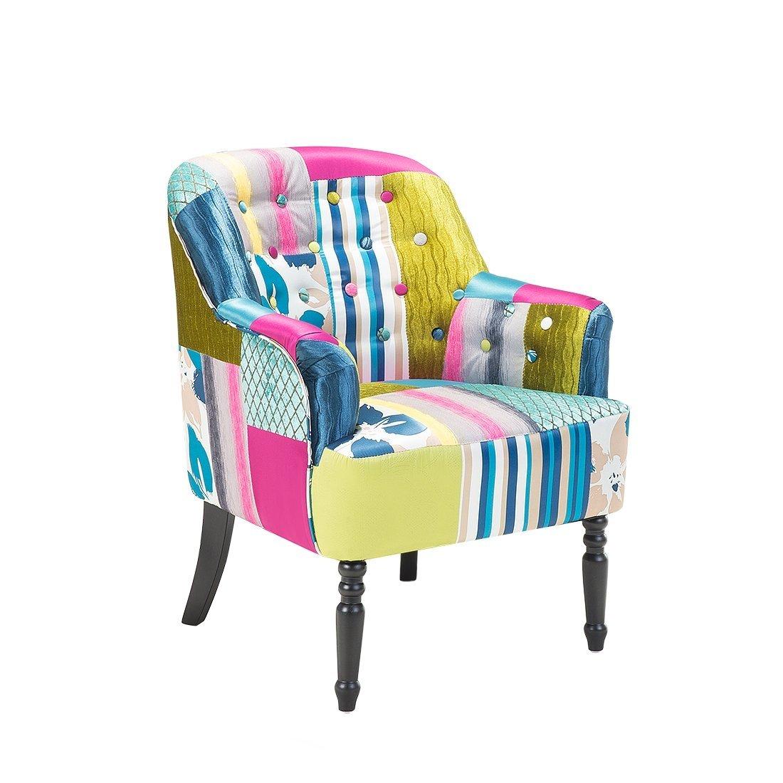Beliani Butaca tapizada - azúl - Diseño de Patchwork ...