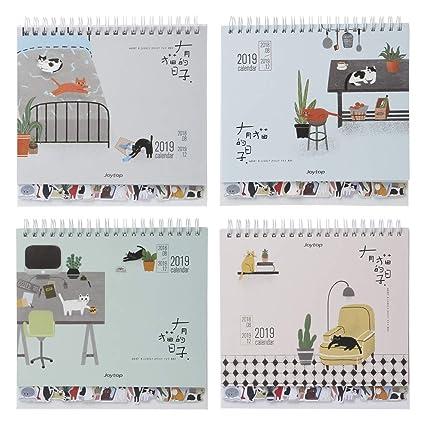 cuigu 2019 Papel Calendario, bonito Gatos patrón Desktop Standing Coil Papel Calendario Memo Schedule Agenda