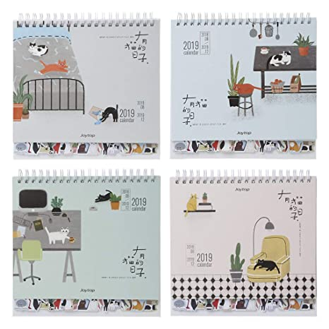 Junlinto, 2019 Lovely Cats Desktop Standing Coil Paper ...