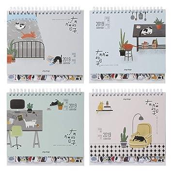 cuigu 2019 Papel Calendario, bonito Gatos patrón Desktop ...