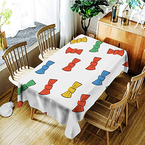 Beihai1Sun Outdoor Tablecloth Rectangular,Seamless Pattern with Bow tie,Fashions Rectangular,W54x90L