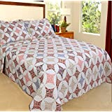 2 Piece Bohemian Geometric Diamond Themed Quilt Set Twin Size, Printed Vibrant Blooming Garden Flowers Bedding, Bold Modern Pastel Nature Lovers Design, Geo Graphic Circles Rings Pattern, Red, Pink