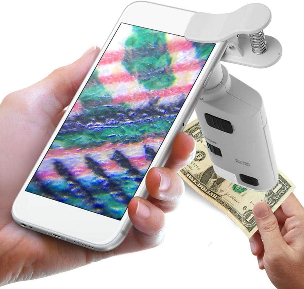 80-120X LED Microscopio per cellulare Lente dingrandimento Zoom Cellulare microscopio con luce UV a LED per gioielli biologici Monete Valuta Francobolli Insetto
