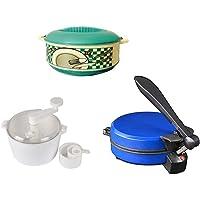 Shoponclick KayLine Roti Maker Combo with White Dough Maker & Casserole (Colour May Vary)
