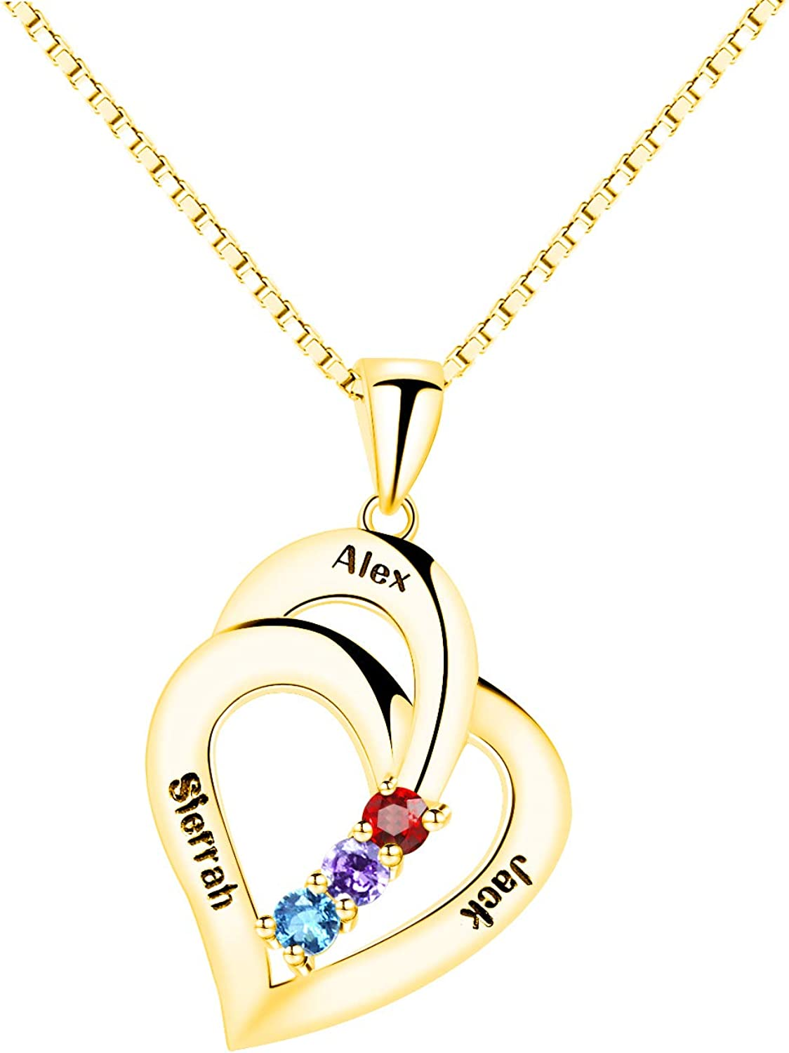 LucyFortune Personalized Sterling Silver 3 Heart Simulated Birthstone Mothers Pendant Necklace with Names Engraved Pendant Family Necklace for Women