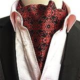 Mens Floral Paisley Jacquard Woven Self Cravat Tie Ascot