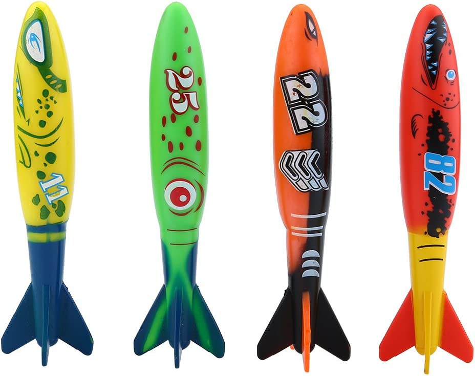 VGBEY 4 Piezas de Juguetes de Torpedo Piscina Toypedo Bandits Submarino Buceo Divertido Juguete