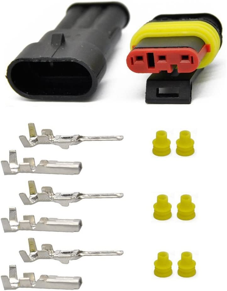 OxoxO 5 Kit 3 Pin Way Waterproof Electrical Connector 1.5mm Series Terminals Heat Shrink Quick Locking Wire Harness Sockets 20-16 AWG