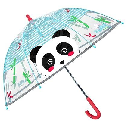 Paraguas Transparente Panda Niño Niña - Paraguas Infantil Cupula Burbuja Reflectante Oso Rayas Azules Mango Rojo - Ligero Resistente Antiviento Fibra ...