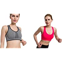 e432b19f52 MISSALOE Women s Seamless Sports Bras with Removable Cups High Impact Yoga  Bra