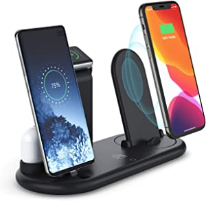 2020 Upgraded Wireless Charger,Charging Station for Multiple Device,7-in-1 Qi-Certified Wireless Charging Stand Foldable Compatible Apple Products, Samsung
