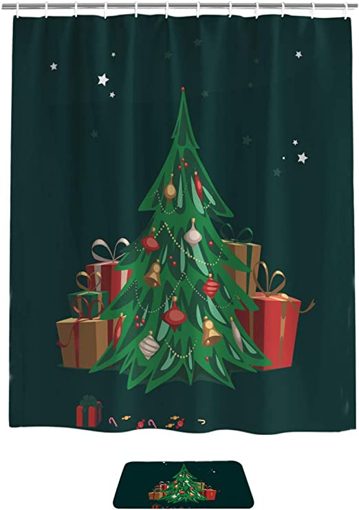"72/"" Christmas House Fabric Shower Curtain Liner Children Kid Bath Accessory Set"
