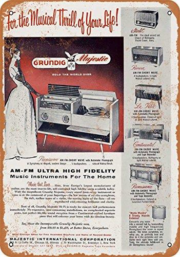 - Wall-Color 10 x 14 Metal Sign - 1956 Grundig Radios - Vintage Look
