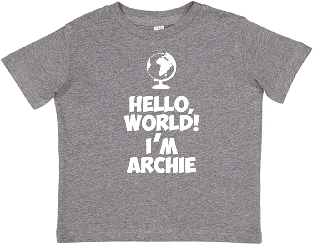Im Archie World Personalized Name Toddler//Kids Short Sleeve T-Shirt Mashed Clothing Hello