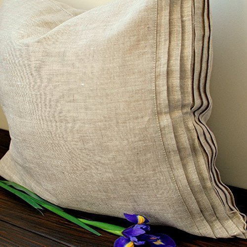Standard Sham Euro Sham (Linen pillow sham with pleats decor, king, queen, standard and euro sizes, in natural linen, white or off-white color)