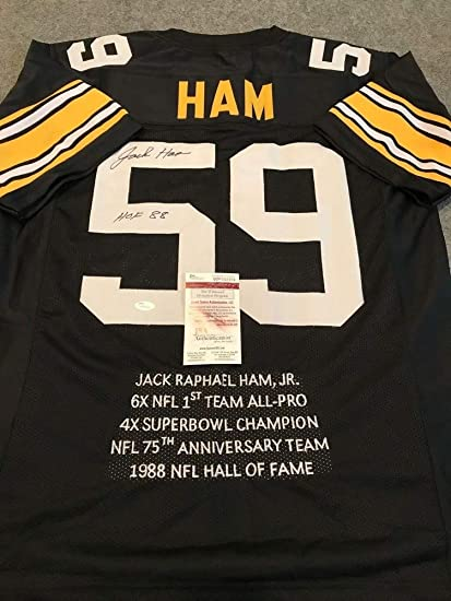 94208fe17e8 Jack Ham Autographed Signed Incscribed Pittsburgh Steelers Stat Jersey - JSA  Authentication
