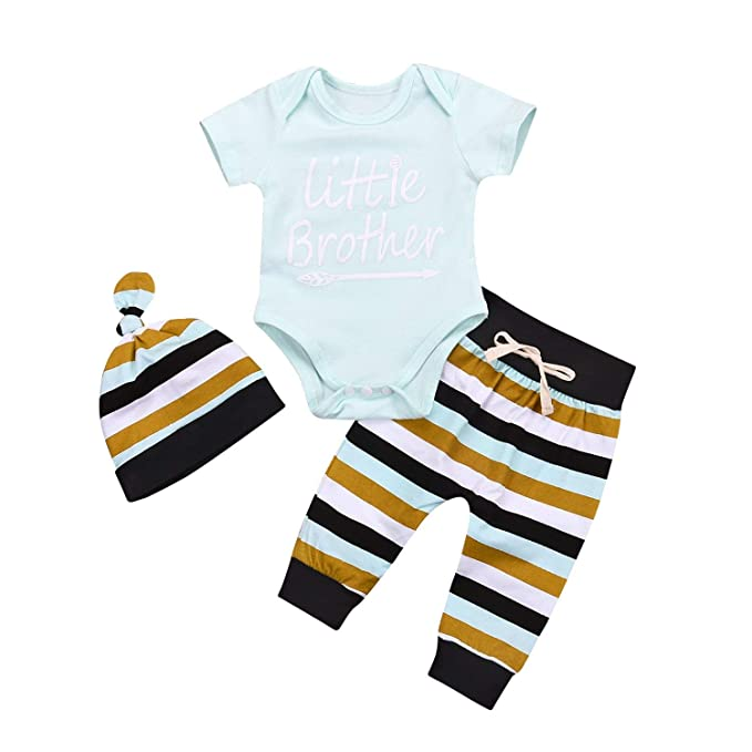 84d0a6287 3Pcs Cute Little Brother Onesie Newborn Outfit Baby Boy Onsie Set Onesies  Short Sleeve Romper Toddler