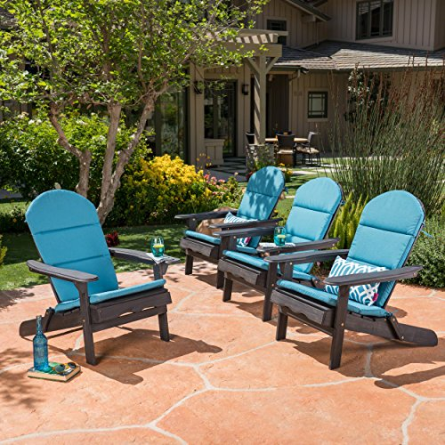 Nelie Outdoor Acacia Wood Adirondack Chairs With Cushions (Set Of