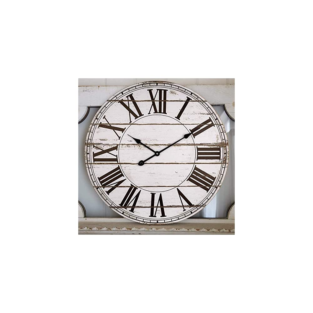 Large Wall Clock, Vintage Farmhouse Style Decorative Shiplap Clock with Roman Numbers, Silent Battery Operated Indoor…