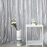 GFCC Photo Backdrop Curtain Sequence Backdrop Satin Seamless Photography Backdrop Silver 4ftx7.5ft