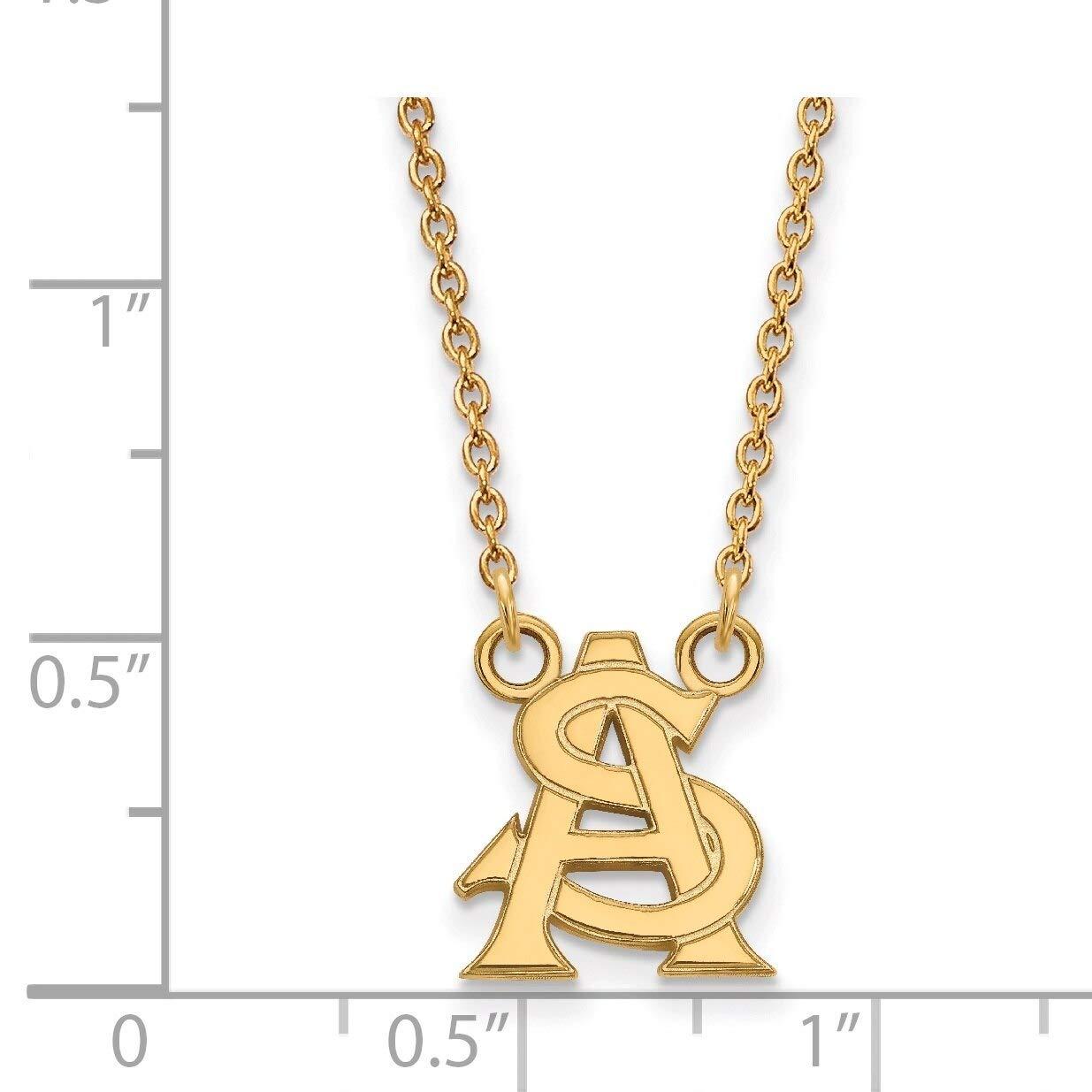 Lex /& Lu LogoArt Sterling Silver w//GP Arizona State University Small Pendant w//Necklace