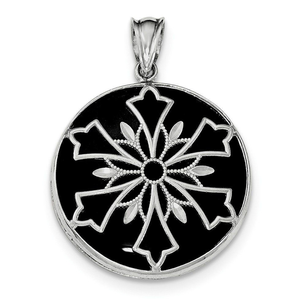 Mia Diamonds 925 Sterling Silver Rhodium-plated Diamond-Cut Onyx//Mother of Pearl Reverse Pendant