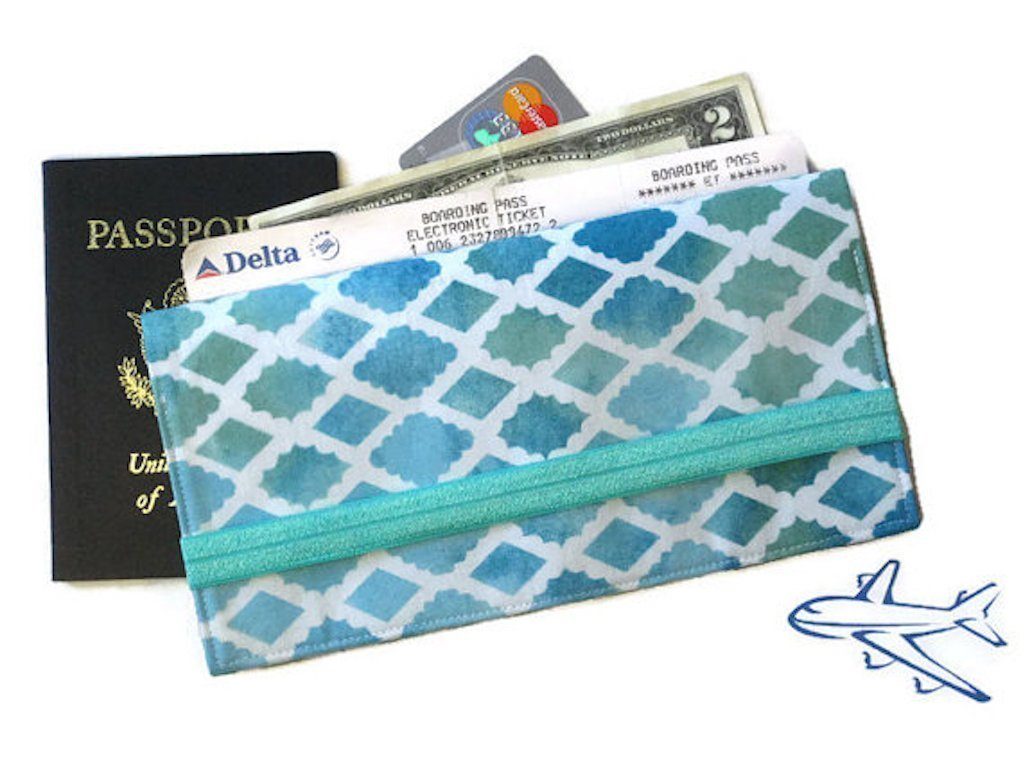 Passport Holder and Boarding Pass Wallet in Aqua Fabric for Family Travel