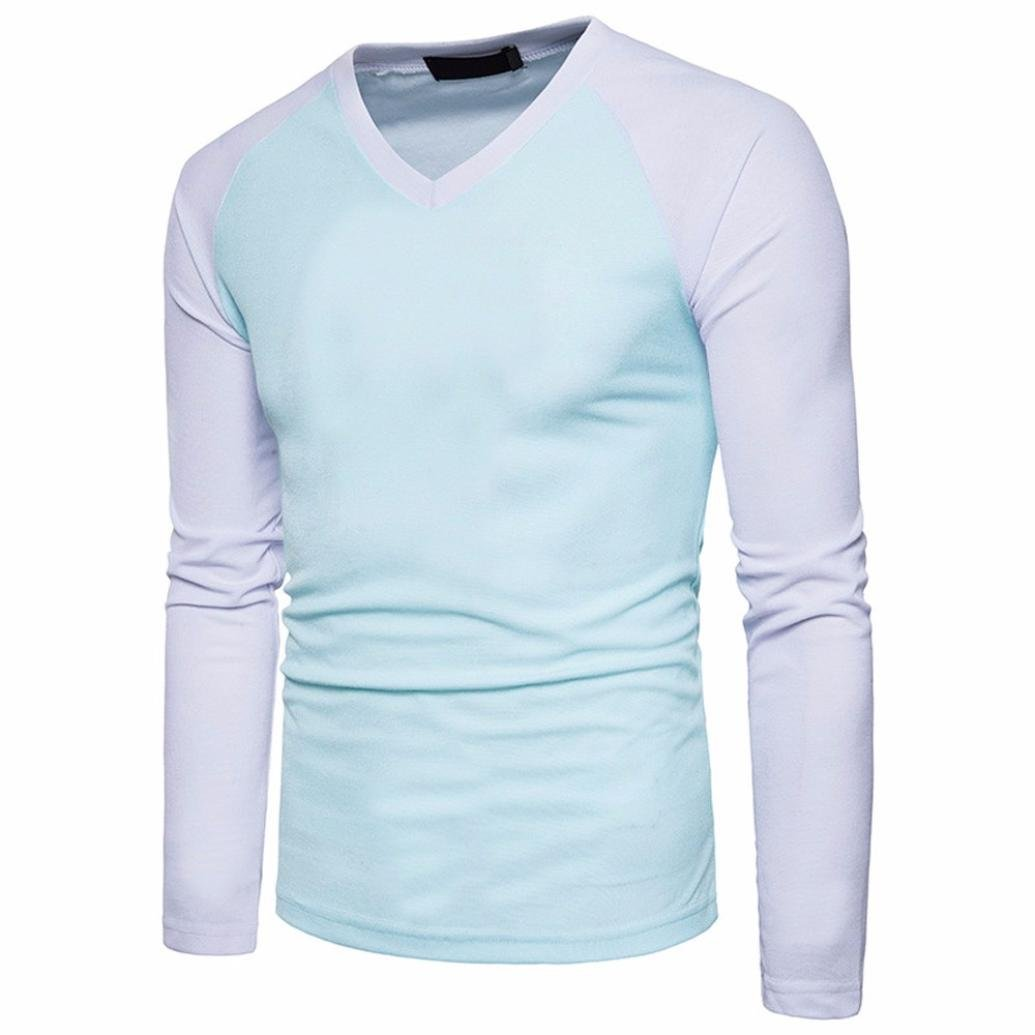 Realdo Mens V Neck T-Shirt, Casual Slim Long Sleeve Splice Patchwork Blouse Top