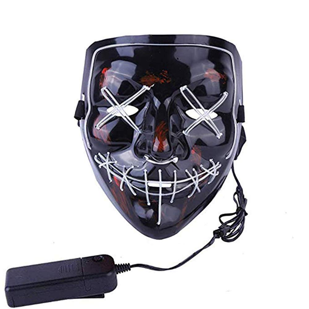 MMSS Halloween Mask Scary Mask LED Light Up Cosplay Mask for Halloween Festival Party