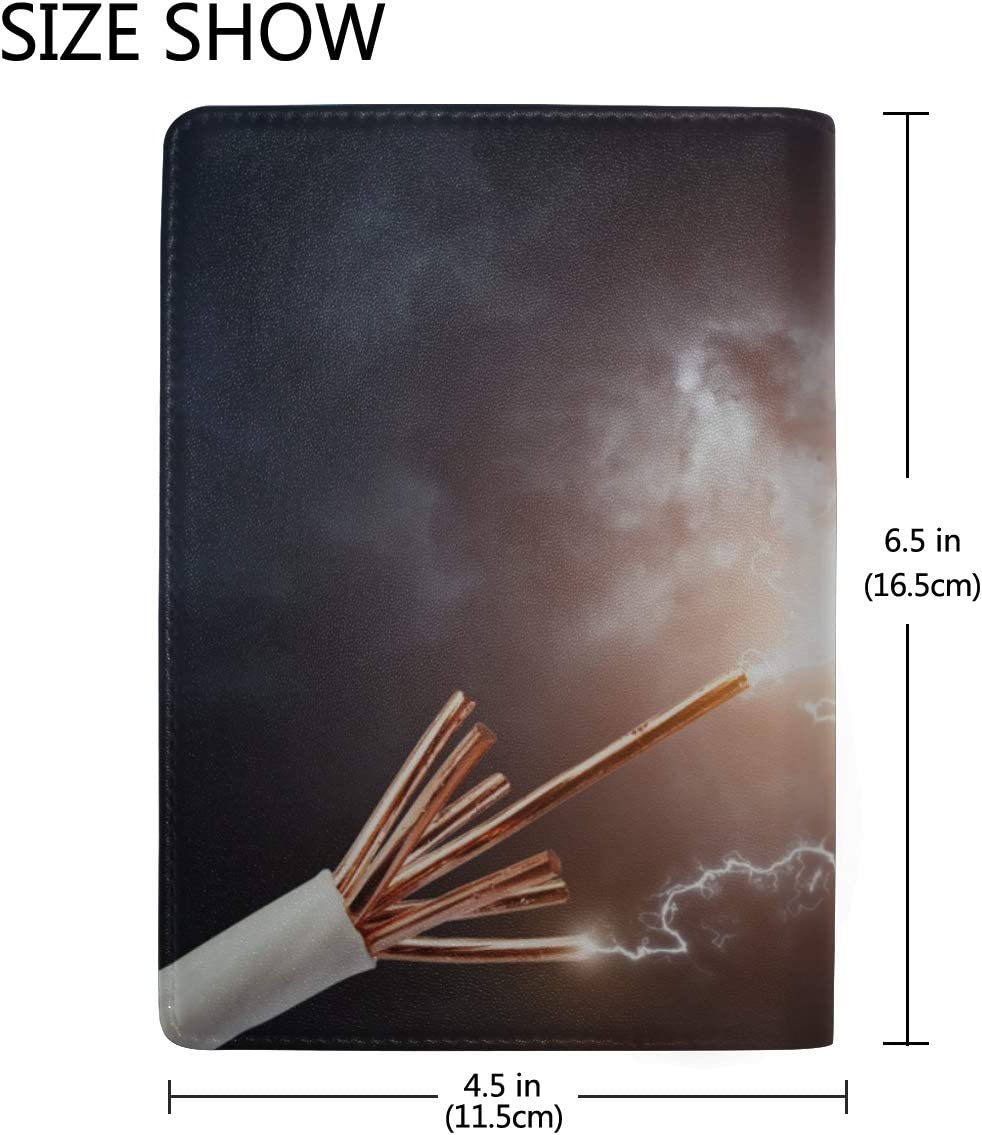 Spark Discharge Current Blocking Print Passport Holder Cover Case Travel Luggage Passport Wallet Card Holder Made With Leather For Men Women Kids Family