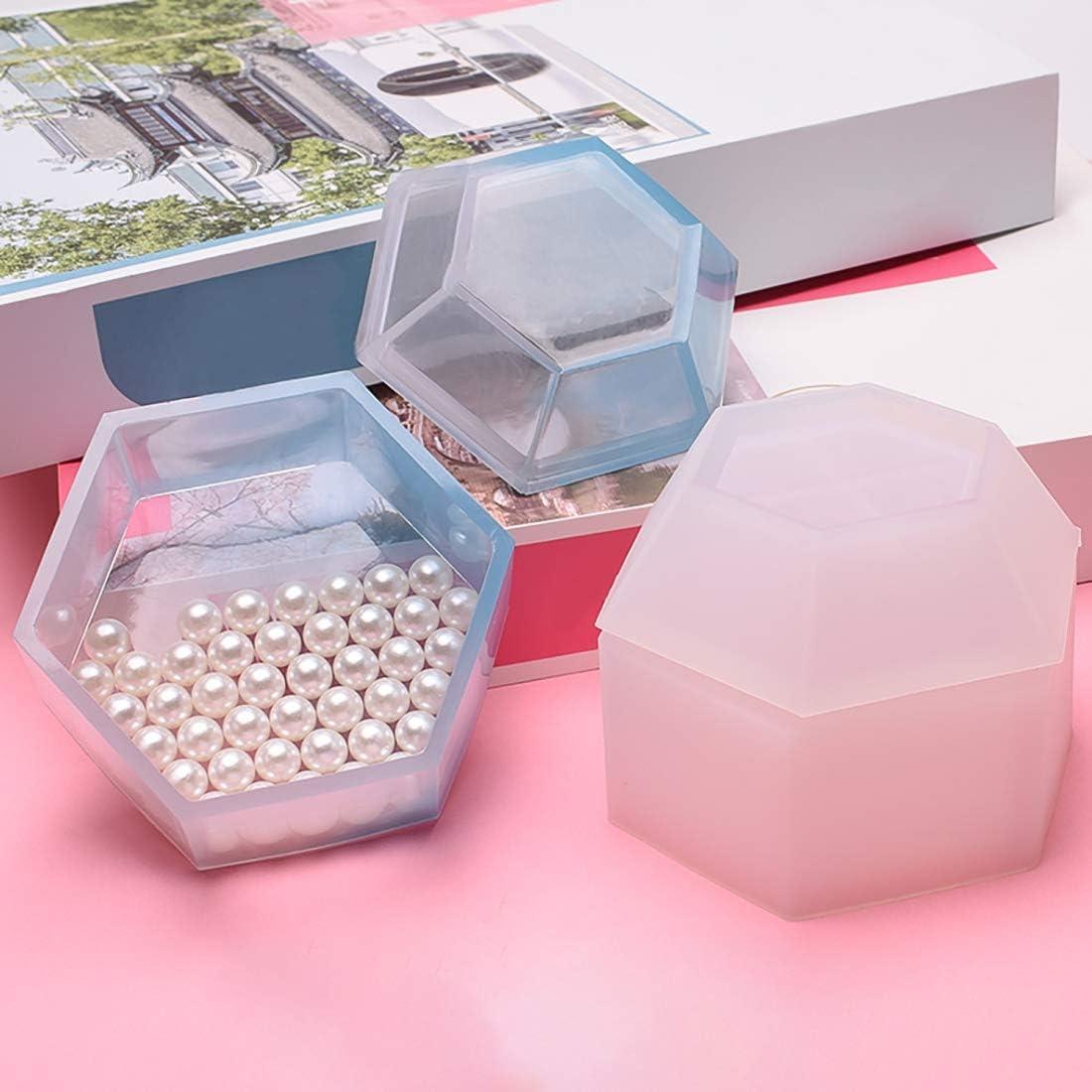 Molde de caja de resina FineInno Moldes De Resina Caja de Almacenamiento de Fundici/ón de Silicona Molde Hexagon Moldeado De Artesan/ía Joyer/ía Molde DIY Craft hacer