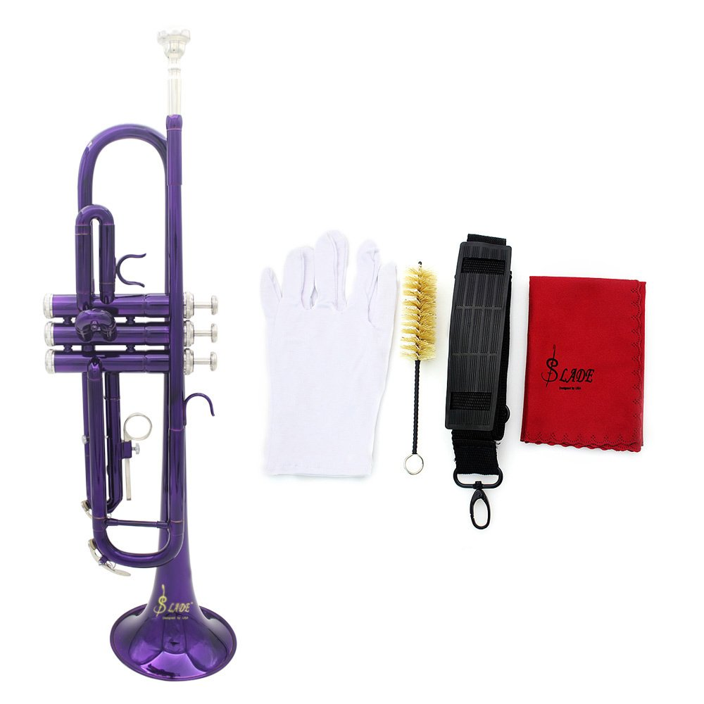 ammoon Trumpet Bb B Flat Silver-plated Brass Exquisite with Mouthpiece Cleaning Brush Cloth Gloves Strap