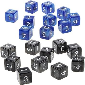 P Prettyia 20 Unids Dados D6 Juego de Mesa para Niños Amigos - Negro y Azul: Amazon.es: Juguetes y juegos