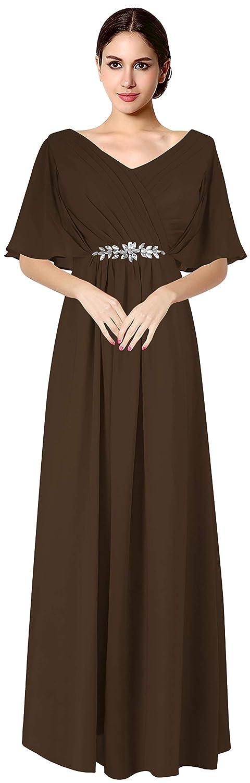 Chocolate VaniaDress Women V Neck Half Sleeveles Long Evening Dress Formal Gowns V265LF