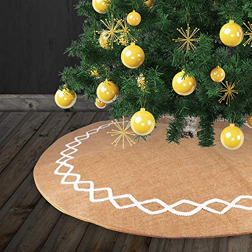 Yashell Burlap Christmas Tree Skirt, 48 inches Large Natural Burlap Jute Plain with Hand-Sewn White Lace Decor, Christmas Decorations Indoor(Double Layer Design)