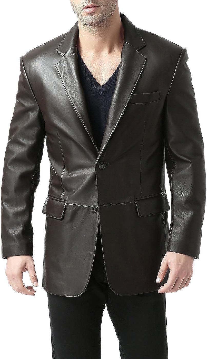 BGSD Men's Brown Leather Blazer Lambskin Sport Coat Jacket (Regular Big & Tall and Short) Dark Brown