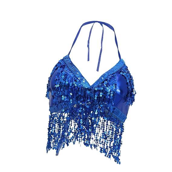 B Baosity Sujetador de Danza de Vientre Cuello V con Lentejuelas Costume para Baile Latino Elegante - Azul, 80cm: Amazon.es: Ropa y accesorios