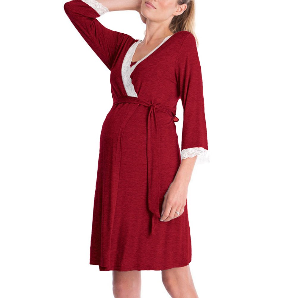 DY coperate Women Maternity Sleepwear Robe Soft V-Neck Lace Nursing Pregnant Breastfeeding Nightwear (M, Wine Red)