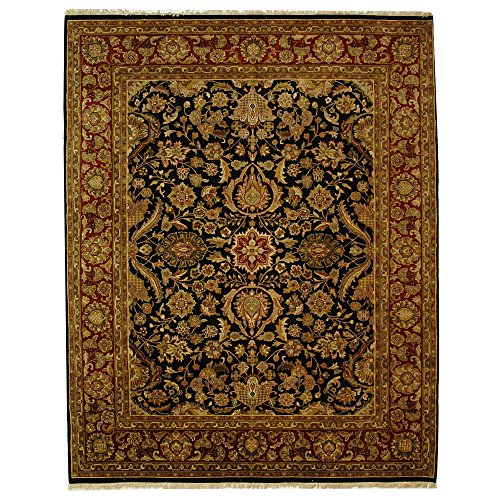 Safavieh Dynasty Collection DY250A Hand-Knotted Black and Red Premium Wool Area Rug (9' x 12')