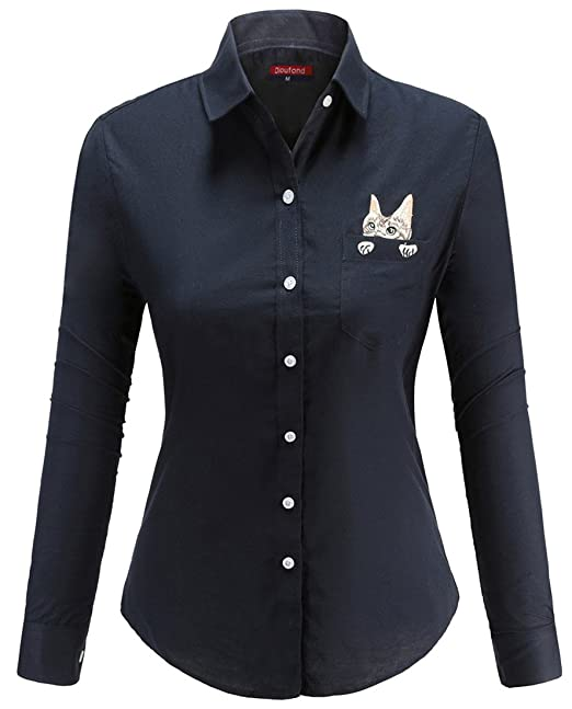 d389bbc1d3f426 Dioufond Women's Elegant Cat Embroidery Button Down Collar Oxford Shirt  Blouse: Amazon.ca: Clothing & Accessories