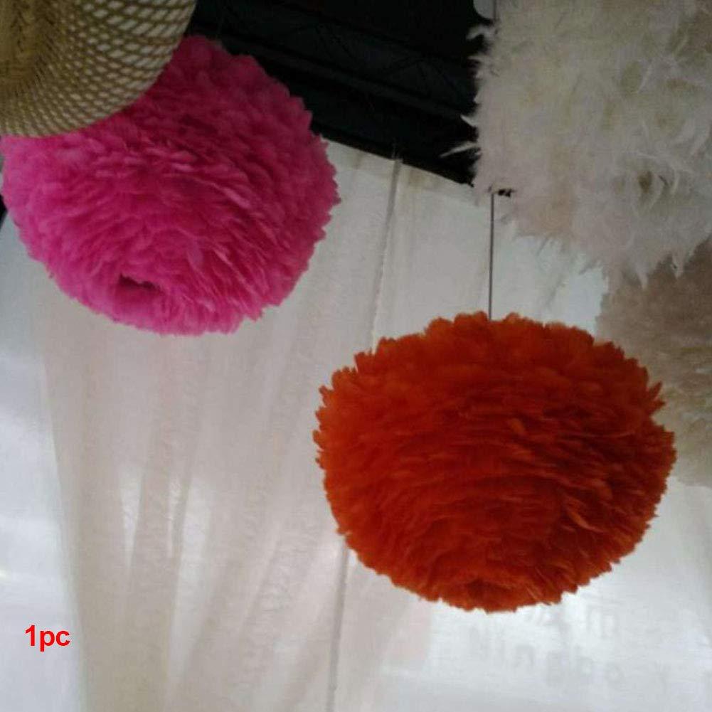 Blanc plumes lampe suspendue–simples Nordic-style moderne Sweet romantique Lustre E27plumes Suspension abat-jour pour le salon, la salle à manger, et chambre à coucher, rose, 30cm