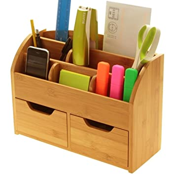 desk stationery organiser box or wall mounted desk tidy made of natural bamboo
