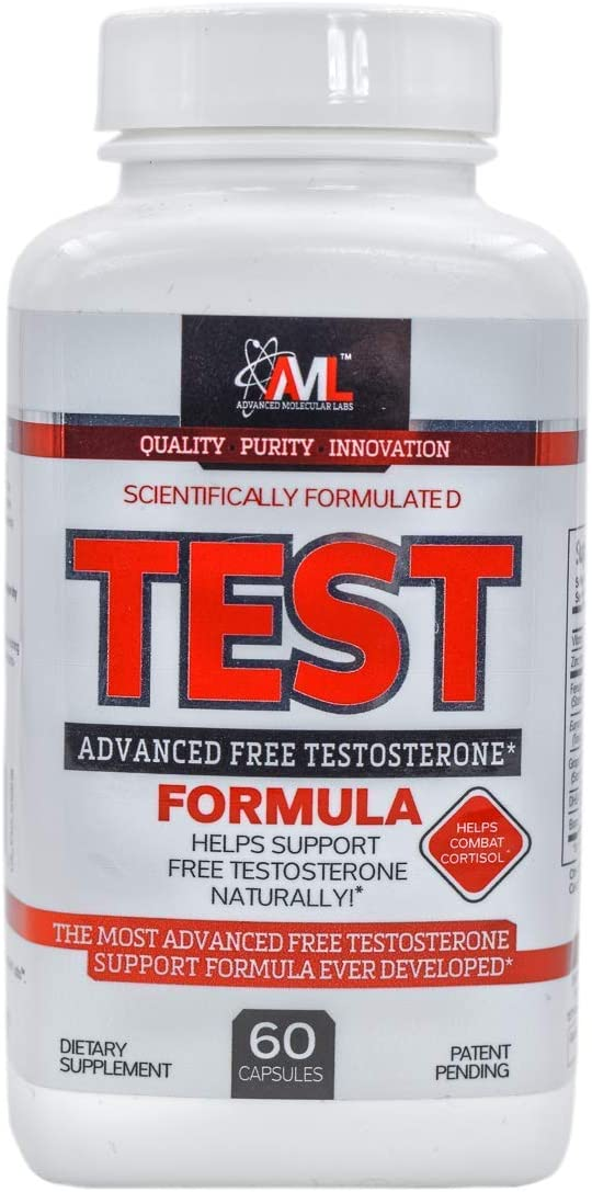 Advanced Molecular Labs - Test, Helps Support Free Testosterone Naturally, Helps Combat Cortisol, Testosterone Booster for Men, 60 Capsules