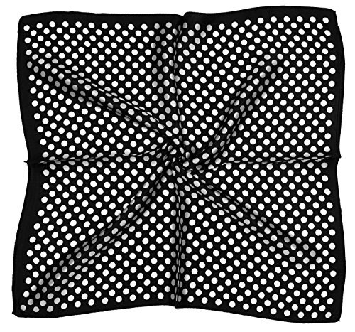 White Spot Silk Scarf (Black White Spots Printed Fine Small Silk Square Scarf)